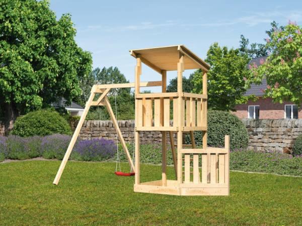 Akubi Spielturm Anna + Einzelschaukel + Schiffsanbau unten