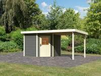 Karibu Woodfeeling Gartenhaus Neuruppin 2 terragrau mit Anbaudach