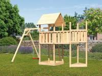 Akubi Spielturm Lotti Satteldach + Schiffsanbau oben + Anbauplattform + Einzelschaukel