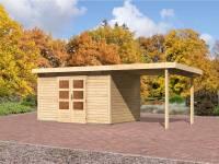 Karibu Aktions Gartenhaus Emden 7 mit Fußboden und Anbaudach 2,60 Meter
