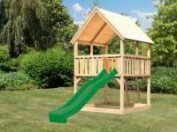 Akubi Spielturm Luis Satteldach + Rutsche grün