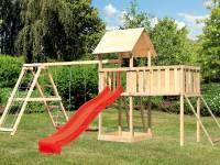 Akubi Spielturm Lotti Satteldach + Rutsche rot + Doppelschaukel Klettergerüst + Anbauplattform XL + Netzrampe