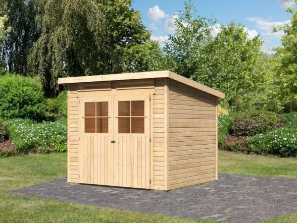 Karibu Gartenhaus Glücksburg 4 natur 19 mm