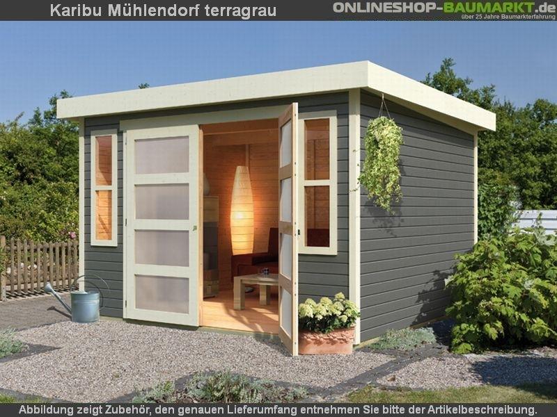 Karibu Gartenhaus Mühlendorf 4 terragrau 19 mm - kleines kompaktes ...