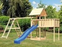 Akubi Spielturm Lotti natur mit Anbauplattform XL, Doppelschaukel inkl. Klettergerüst und Rutsche blau