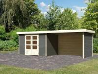 Karibu Gartenhaus Askola 4 terragrau mit Anbaudach 2,80 Meter inkl. Rück-und Seitenwand