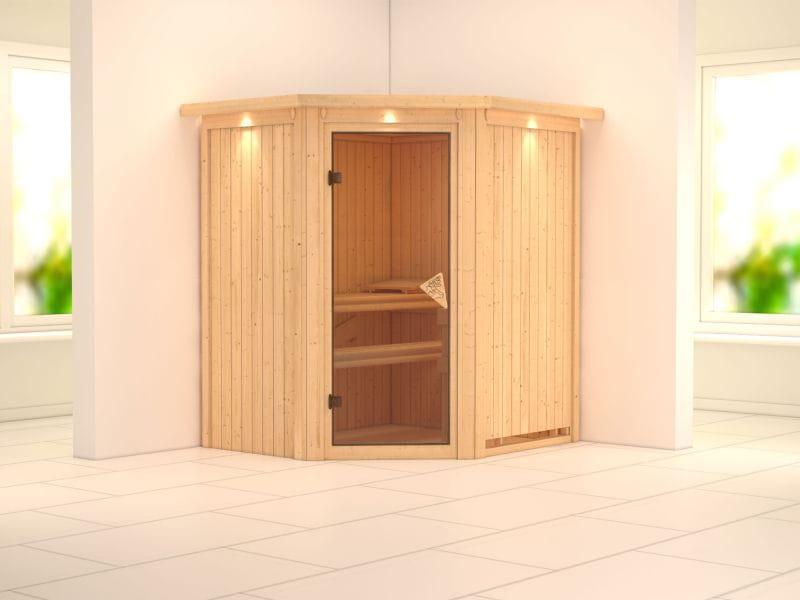 Taurin - Karibu Sauna ohne Ofen - mit Dachkranz -