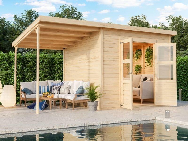 Karibu Gerätehaus Merseburg 6 SET mit Anbaudach