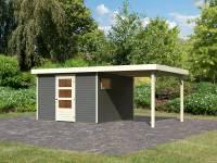 Karibu Woodfeeling Gartenhaus Oburg 6 terragrau mit Anbaudach 2,4 Meter