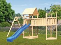 Akubi Spielturm Lotti Satteldach + Schiffsanbau oben + Einzelschaukel + Anbauplattform XL + Rutsche in blau