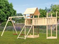 Akubi Spielturm Lotti Satteldach + Schiffsanbau oben + Doppelschaukel + Anbauplattform XL + Netzrampe
