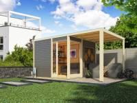 Karibu Gartenhaus Qubu Eck in terragrau inkl. Anbaudach 2 Meter