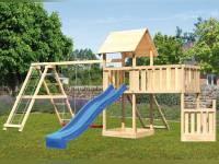 Akubi Spielturm Lotti + Schiffsanbau unten + Anbauplattform XL + Doppelschaukel mit Klettergerüst + Netzrampe + Rutsche blau