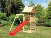 Akubi Spielturm Lotti mit Einzelschaukel, Kletterwand und Rutsche rot