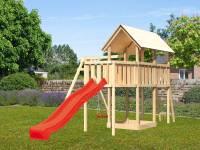 Akubi Spielturm Danny Satteldach + Rutsche rot + Einzelschaukel + Anbauplattform