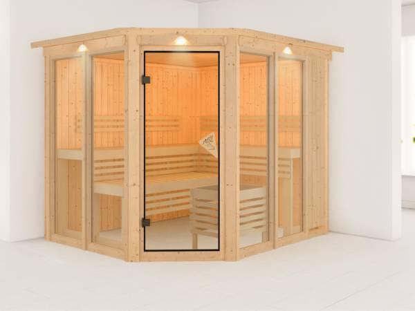 Karibu Sauna Sinur mit Dachkranz ohne Ofen 68 mm