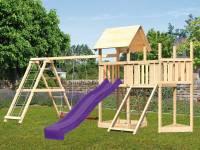Akubi Spielturm Lotti Satteldach + Schiffsanbau oben + Anbauplattform + Doppelschaukel mit Klettergerüst + Netzrampe + Rutsche in violett