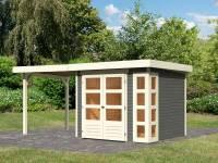 Karibu Woodfeeling Gartenhaus Kerko 3 terragrau mit 2,40 m Anbaudach