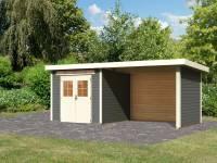 Karibu Gartenhaus Kerpen 2 terragrau inkl. Anbaudach 3,2 m und Rück- und Seitenwand