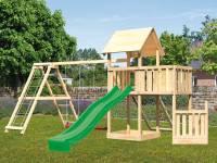 Akubi Spielturm Lotti + Schiffsanbau unten + Anbauplattform + Netzrampe + Doppelschaukel mit Klettergerüst + Rutsche grün