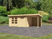 Karibu Woodfeeling Gartenhaus Bastrup 8 mit Anbaudach 2 Meter inkl. Rückwand