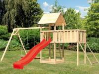 Akubi Spielturm Lotti Satteldach + Rutsche rot + Doppelschaukel + Anbauplattform XL + Netzrampe