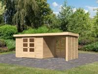 Karibu Woodfeeling Gartenhaus Askola 4 mit Anbaudach 2,4 m, Lamellenwände