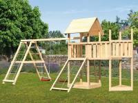 Akubi Spielturm Lotti Satteldach + Schiffsanbau oben + Anbauplattform + Doppelschaukel mit Klettergerüst + Netzrampe