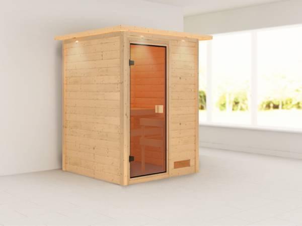 Nadja - Karibu Sauna Plug & Play ohne Ofen - mit Dachkranz -