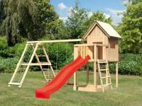 Akubi Spielhaus Frieda mit Doppelschaukel inkl. Klettergerüst und Rutsche in rot