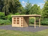 Karibu Woodfeeling Gartenhaus Kerko 3 natur mit 2,40 m Anbaudach