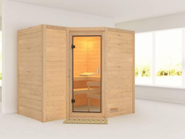 Karibu Sauna Sahib 2 ohne Ofen, ohne Dachkranz, mit Klarglas Ganzglastür