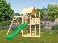 Akubi Spielturm Lotti Satteldach + Schiffsanbau oben + Einzelschaukel + Kletterwand + Rutsche in grün