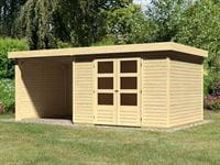 Karibu Woodfeeling Gartenhaus Askola 5 mit Anbaudach 2,25 Meter, Seiten- und Rückwand