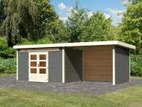 Karibu Woodfeeling Gartenhaus Kandern 7 in terragrau mit Anbaudach 3,20 Meter inkl. Rück- und Seitenwand