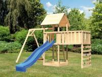 Akubi Spielturm Lotti Satteldach + Rutsche blau + Einzelschaukel + Anbauplattform XL + Kletterwand