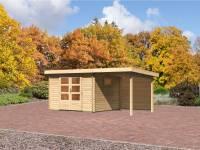 Karibu Aktions Gartenhaus Rastede 3 natur mit Anbaudach 2,2 m inkl. Rückwand