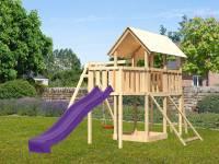 Akubi Spielturm Danny Satteldach + Rutsche violett + Einzelschaukel + Anbauplattform + Netzrampe