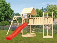Akubi Spielturm Lotti Satteldach + Schiffsanbau oben + Einzelschaukel + Anbauplattform XL + Kletterwand + Rutsche in rot