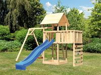 Akubi Spielturm Lotti Satteldach + Rutsche blau + Einzelschaukel + Anbauplattform + Kletterwand
