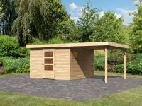 Karibu Woodfeeling Gartenhaus Oburg 6 natur mit Anbaudach 2,4 Meter