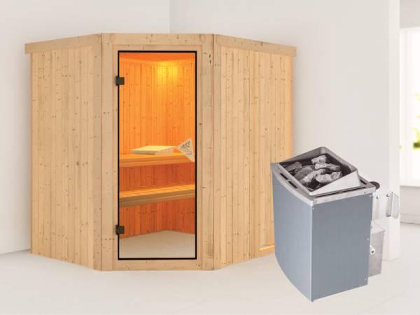 Siirin - Karibu Sauna inkl. 9-kW-Ofen - ohne Dachkranz -