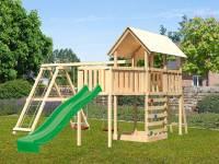Akubi Spielturm Danny Satteldach + Rutsche grün + Doppelschaukelanbau Klettergerüst + Anbauplattform XL + Kletterwand