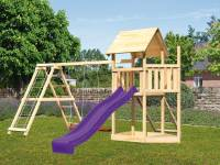 Akubi Spielturm Lotti Satteldach + Schiffsanbau oben + Doppelschaukel mit Klettergerüst + Netzrampe + Rutsche in violett
