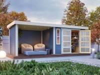 Karibu Gartenhaus Mühlendorf 4 terragrau 19 mm mit Anbaudach 2,60 m, Seiten- und Rückwand