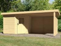 Karibu Woodfeeling Gartenhaus Neuruppin 2 natur mit Schleppdach 3,00 Meter, Seiten- und Rückwand