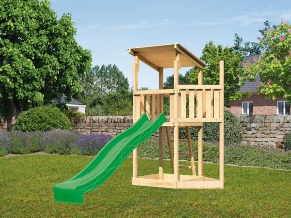Akubi Spielturm Anna + Rutsche grün + Schiffsanbau oben