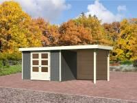 Karibu Gartenhaus Jever 4 in terragrau mit Fußboden und Anbaudach 2,4 Meter-Rückwand