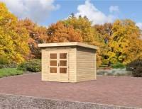 Karibu Aktions Gartenhaus Emden 3 natur mit Fußboden und Dacheindeckung