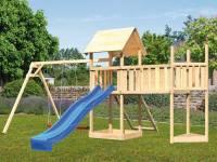 Akubi Spielturm Lotti Satteldach + Schiffsanbau oben + Doppelschaukel + Anbauplattform XL + Netzrampe + Rutsche in blau